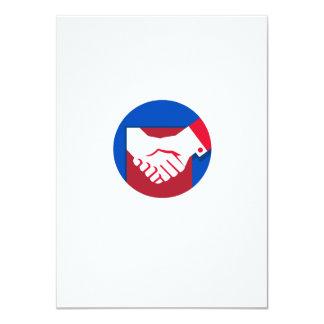 Business Deal Handshake Circle Retro Card