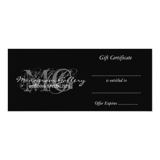 """Business Gift Certificate Template with Monogram 4"""" X 9.25"""" Invitation Card"""