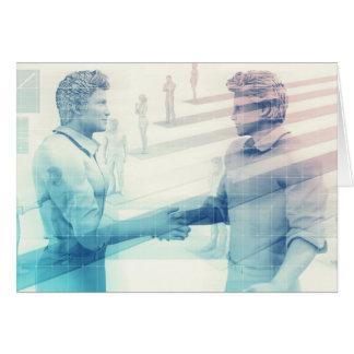 Business Handshake on Digital Technology Card