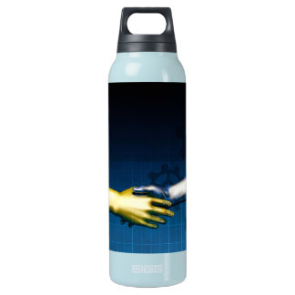 Business Integration Network with Hands Shaking Ab Insulated Water Bottle