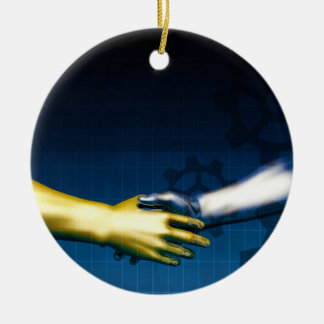 Business Integration Network with Hands Shaking Ab Round Ceramic Ornament