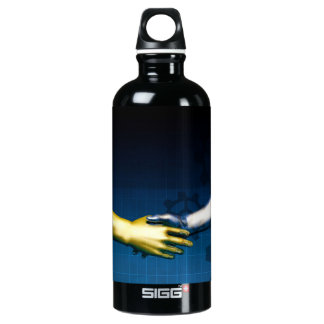 Business Integration Network with Hands Shaking Ab Water Bottle