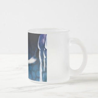 Business Integration Network with Hands Shaking Frosted Glass Coffee Mug