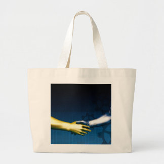 Business Integration Network with Hands Shaking Large Tote Bag