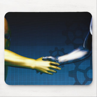 Business Integration Network with Hands Shaking Mouse Pad