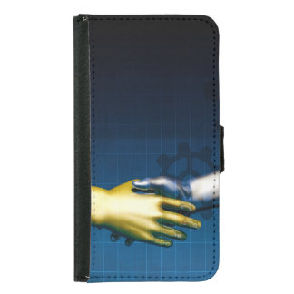 Business Integration Network with Hands Shaking Samsung Galaxy S5 Wallet Case