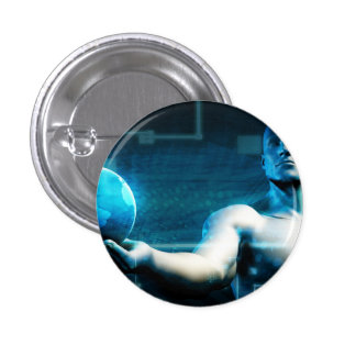 Business Intelligence with Data Abstract 1 Inch Round Button
