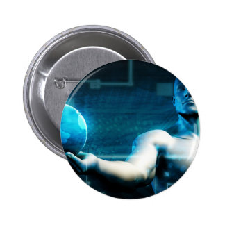 Business Intelligence with Data Abstract 2 Inch Round Button