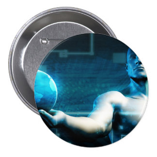 Business Intelligence with Data Abstract 3 Inch Round Button