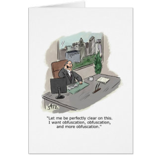Business lawyer obfuscation greeting card