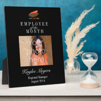 Business logo employee of the month photo award plaques