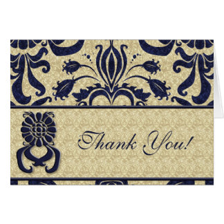 Business Logo Thank You Indigo Swirls Navy Taupe Card