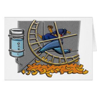 Business man on hamster wheel Greeting Card