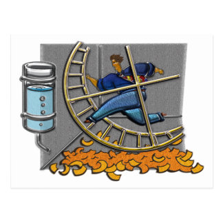 Business man on hamster wheel Postcard