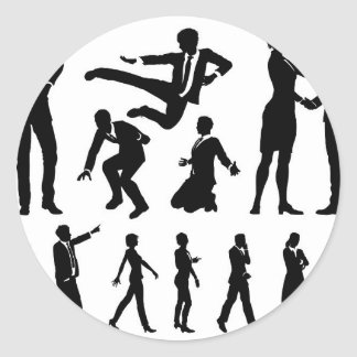 Business Men and Women Silhouettes Classic Round Sticker