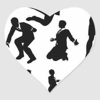 Business Men and Women Silhouettes Heart Sticker