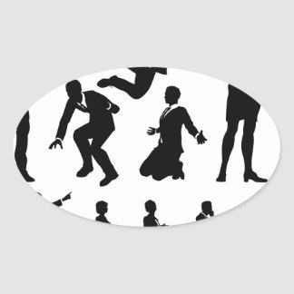 Business Men and Women Silhouettes Oval Sticker