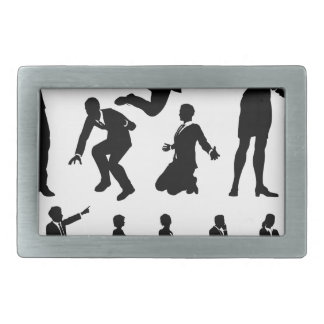 Business Men and Women Silhouettes Rectangular Belt Buckles