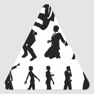 Business Men and Women Silhouettes Triangle Sticker