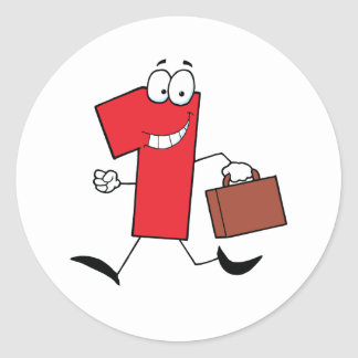 Business Number One Running With Suitcases Round Sticker