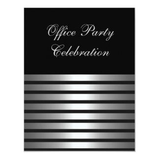 """Business Office Party Black Silver Stripe 4.25"""" X 5.5"""" Invitation Card"""