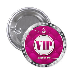 Business or Party Hot Pink Diamond VIP 1 Inch Round Button
