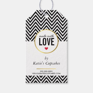 BUSINESS PACKAGING made with love black chevron Gift Tags