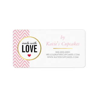 BUSINESS PACKAGING made with love pink chevron Label