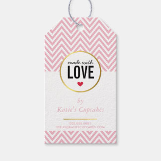 BUSINESS PACKAGING made with love pink chevron Pack Of Gift Tags