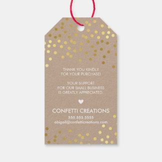 BUSINESS PACKAGING TAG gold confetti spots kraft Pack Of Gift Tags