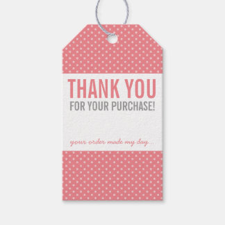 BUSINESS PACKAGING THANK YOU bold polka dot coral Pack Of Gift Tags