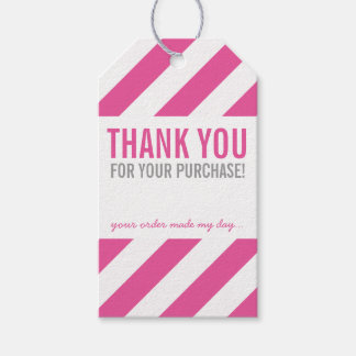BUSINESS PACKAGING THANK YOU bold stripe pink Pack Of Gift Tags