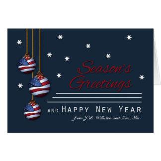 Business Patriotic Season's Greetings U.S. Flag Greeting Card