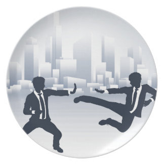 Business People Kung Fu Fighting Party Plate