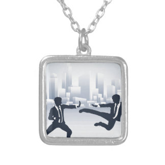 Business People Kung Fu Fighting Silver Plated Necklace