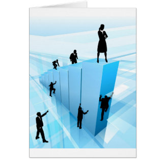 Business People Silhouettes Success Concept Card