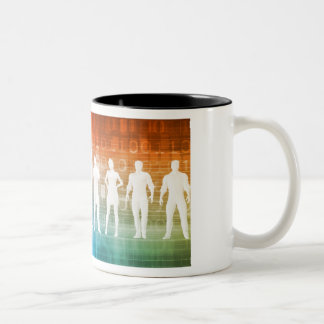 Business People Standing in a Row Confident Two-Tone Coffee Mug
