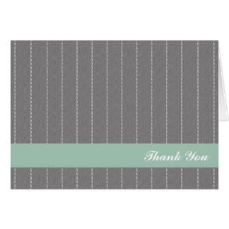 Business pinstripes grey green custom thank you note card