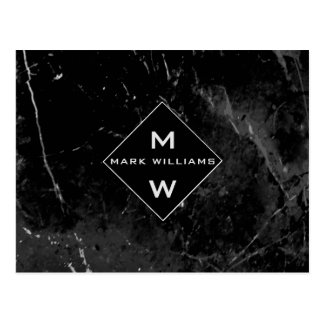 Business Professional Black Marble with Monogram Postcard