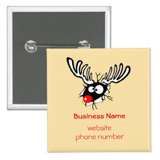 Business Promotional Crazy Red Nosed Reindeer 2 Inch Square Button