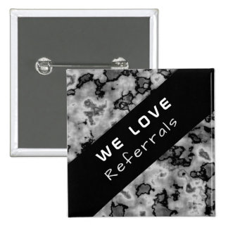 Business Promotional Referral - Black Marble 2 Inch Square Button