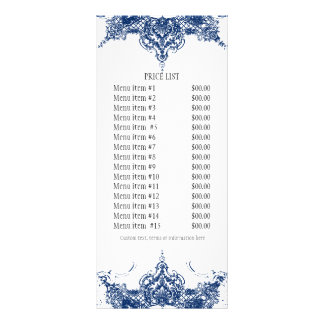 Business Rate Card - Toile Damask Swirl Floral Rack Card Design
