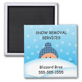 Business Reminder Snow Removal Service Square Magnet