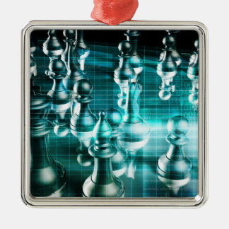 Business Strategy with a Chess Board Concept Silver-Colored Square Ornament