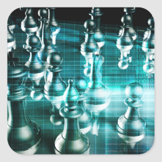 Business Strategy with a Chess Board Concept Square Sticker
