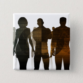Business Team of Professionals Standing for Career 2 Inch Square Button