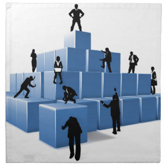 Business Team People Silhouettes Building Blocks Napkin