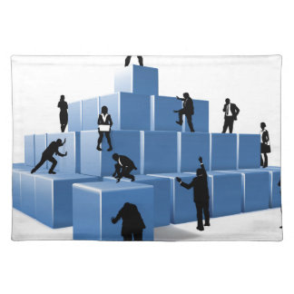 Business Team People Silhouettes Building Blocks Placemat