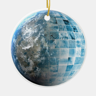 Business Technology Global Network with Futuristic Round Ceramic Ornament