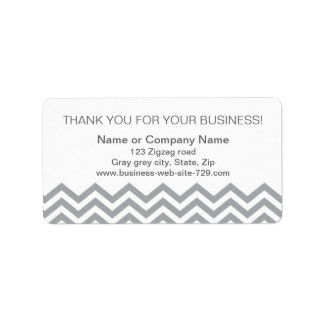 Business thank you address labels, gray chevron